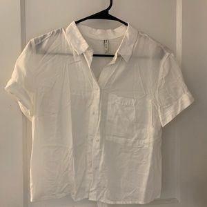 Bershka cropped white button up with collar